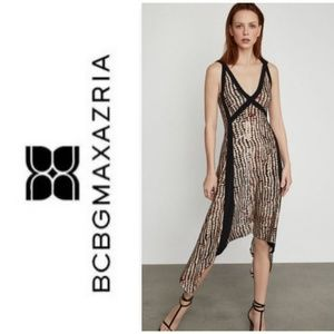 New BCBG Sandy Dots Asymmetric Dress
